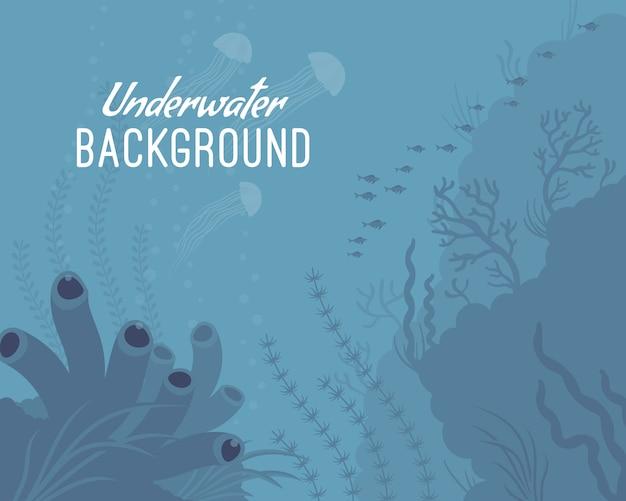 Unterwasserhintergrundschablone mit seeschwamm