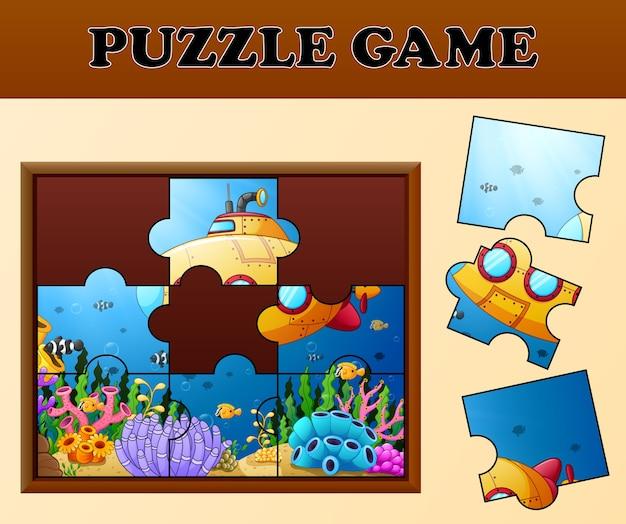 Unterwasserkarikatur mit puzzlespielkonzept