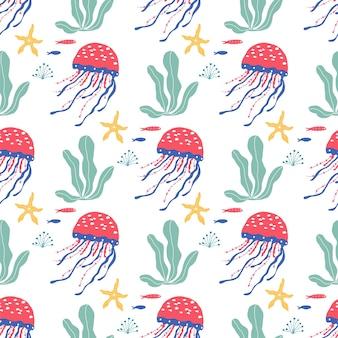 Unterwasserlebewesen fische, quallen, tintenfische, clownfische, meerespflanzen und korallen, mit meerestieren für stoffe, textilien, tapeten, kinderzimmerdekor, drucke, kindliches nahtloses muster. vektor