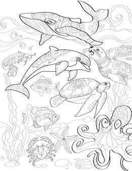 Unterwassermeer mit verschiedenen wasserlebewesen, die farblose strichzeichnungen von meerestieren schwimmen