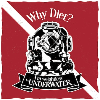 Unterwassermotivation etikett design poster mit der frage, warum diät