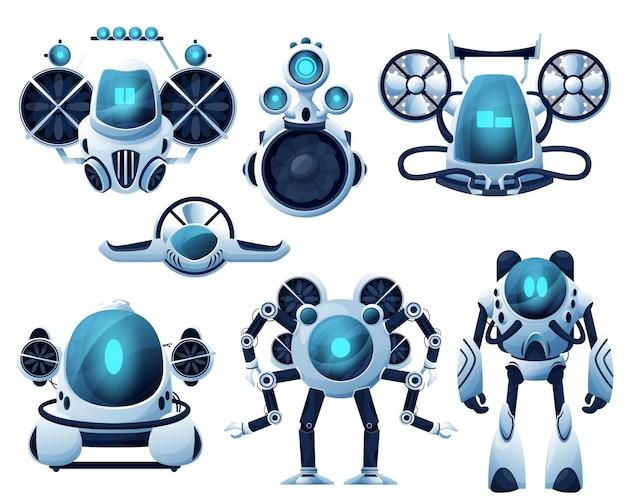 Unterwasserroboter- und rov-zeichentrickfiguren