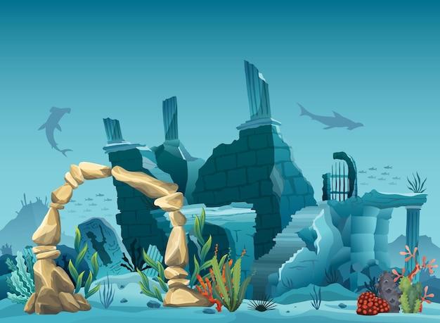 Unterwasserruinen der alten stadt und des sandsteinbogens. schattenbild des blauen meereshintergrundes. natürliche unterwasserlandschaft, meerestiere. korallenriff mit fischen und überfluteter teil der altstadt