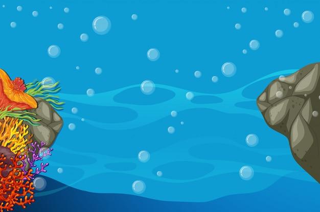 Unterwasserszene mit buntem korallenriff