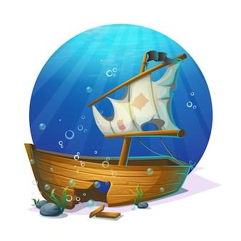 Unterwasserwelt. altes piratenschiff-schiffbruch auf sandigem grund des ozeans.