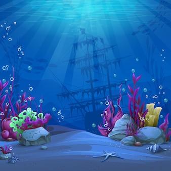 Unterwasserwelt im blauen thema. marine life landscape - das meer und die unterwasserwelt mit unterschiedlichen bewohnern.