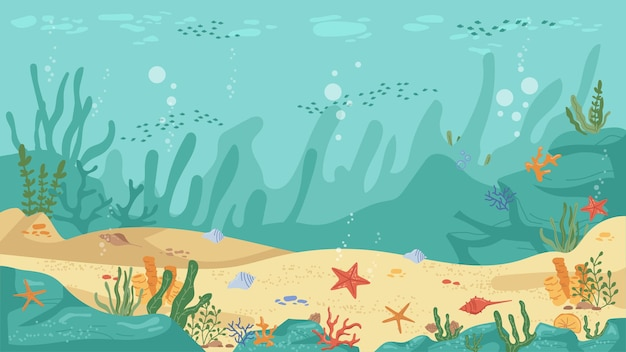 Unterwasserwelt meeresbodenalgen und korallenriffseesterne und fisch flacher karikaturhintergrundvektor