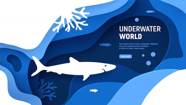 Unterwasserwelt seitenvorlage. papierkunst-unterwasserweltkonzept mit haifischschattenbild. papierschnitt-seehintergrund mit haifisch, wellen, fischen und korallenriffen. handwerk vektor-illustration
