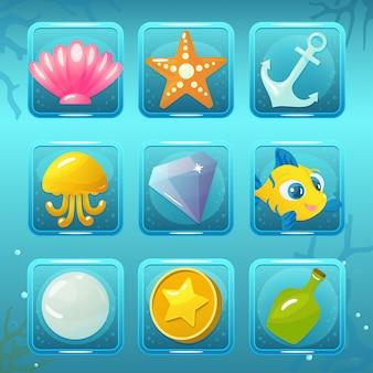 Unterwasserwelt-spiel-ikonen