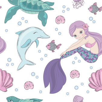 Unterwater world mermaid seamless pattern