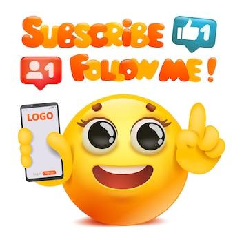 Unterzeichnen sie und folgen sie mir karte mit dem gelben emoji-charakter der karikatur, der smartphone hält.