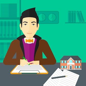 Unterzeichnender vertrag des immobilienmaklers.