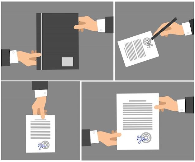 Unterzeichnender vertrag inszeniert bildersammlung auf grau