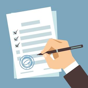 Unterzeichnendes dokument der männlichen hand, mannschreiben auf papiervertrag, handanmeldungssteuerformular