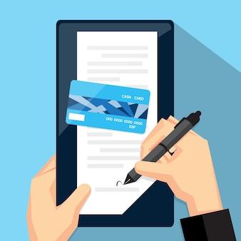 Unterzeichnete eine quittung für kreditkartenausgaben