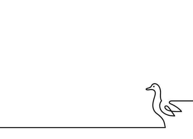 Ununterbrochene linie entenvektorillustration auf weißem hintergrund