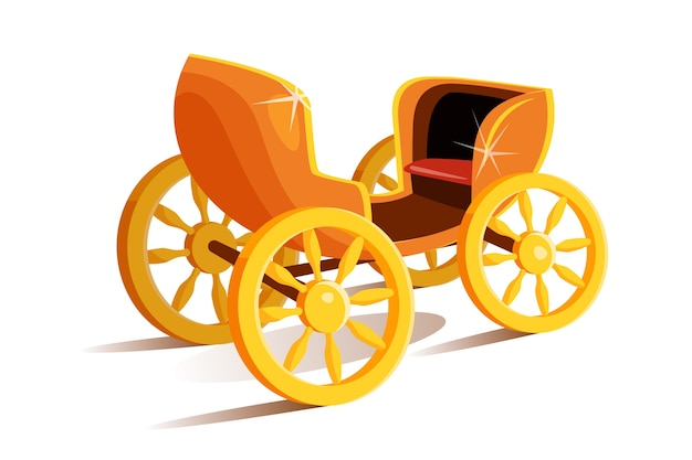 Unvorstellbarer märchenhafter goldener wagen