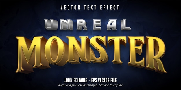 Unwirklicher monstertext, bearbeitbarer texteffekt im spielstil