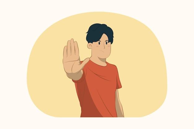 Unzufriedener junger mann, der stoppgeste mit palmenkonzept zeigt