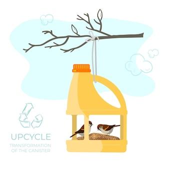 Upcycle vogelfutterspender aus einem leeren kanister