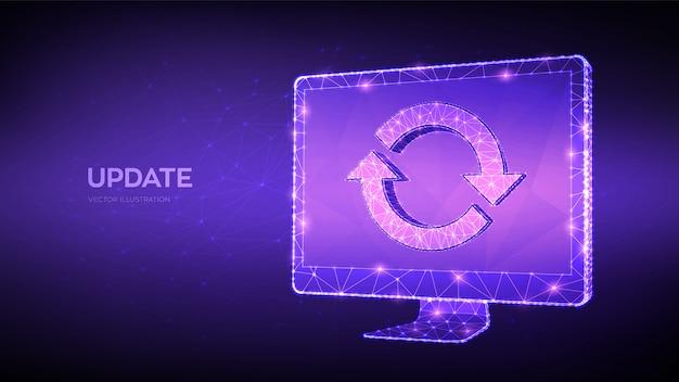 Update, synchronisation, verarbeitungskonzept. abstrakter niedriger polygonaler computermonitor mit aktualisierungs- oder synchronisierungszeichen.