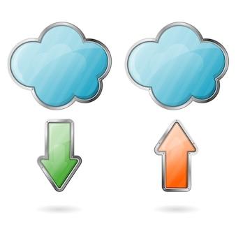 Upload und download auf cloud-symbol