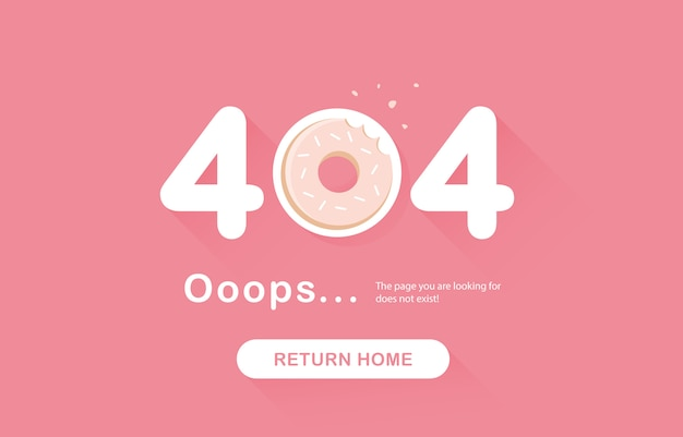 Ups fehler 404, seite nicht gefunden. gehe zurück banner. systemfehler, defekte seite. gebissener donut, essen. seite mit designelementen. für die website. problembericht. rosa. .