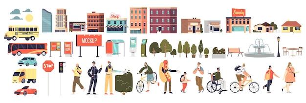 Urban city cartoon-elemente: menschen, parkdekoration, gebäude, fahrzeugtransport und steuern werbetafeln und schilder auf weißem hintergrund. flache vektorillustration