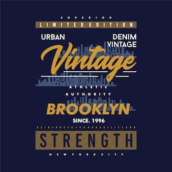 Urban denim brooklyn grafik t-shirt design typografie casual style