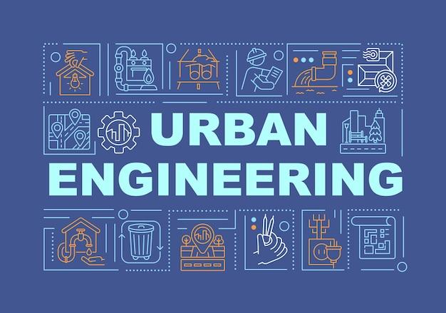 Urban engineering wort konzepte banner illustrationen