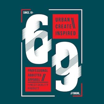 Urban erstellen inspirierte slogan und nummer design grafik