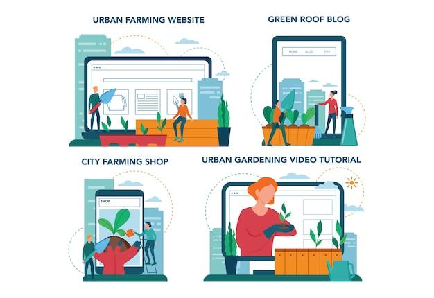 Urban farming oder gardening online-service oder plattform auf verschiedenen gerätekonzept-set. stadtlandwirtschaft. menschen pflanzen und gießen den spross auf dem dach oder balkon.