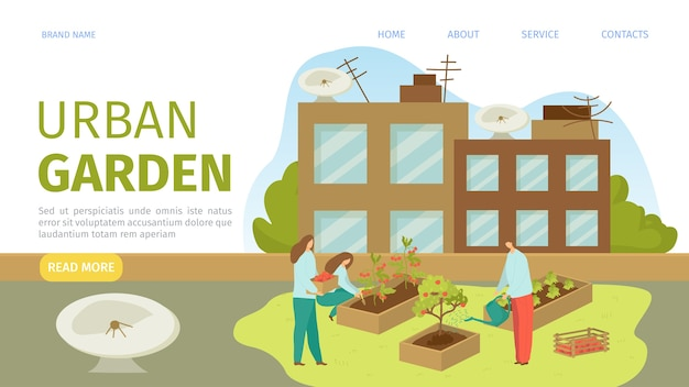 Urban garden landing web template illustration