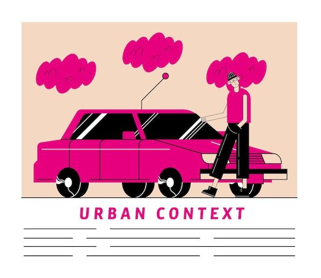 Urban und stadt rosa auto und mann karikatur des modernen und artthemas
