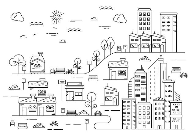 Urbane illustration mit dörflichem flair im dünnen linienstil