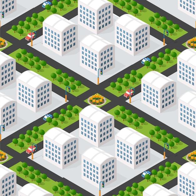 Urbane isometrische 3d-darstellung eines stadtblocks mit häusern, straßen. illustration für die design- und spieleindustrie.