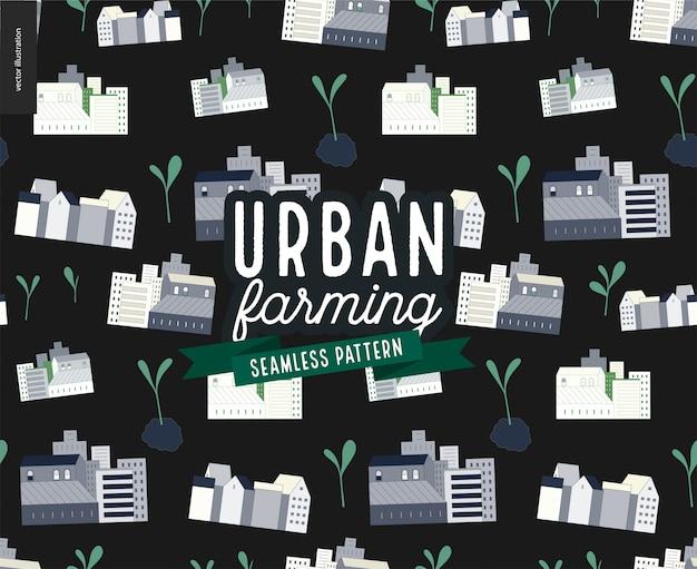 Urbane landwirtschaft und gartenarbeit - muster von häusern und sprossen