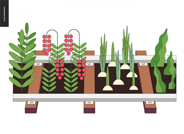 Urbane landwirtschaft und gartenbau auf den schienen