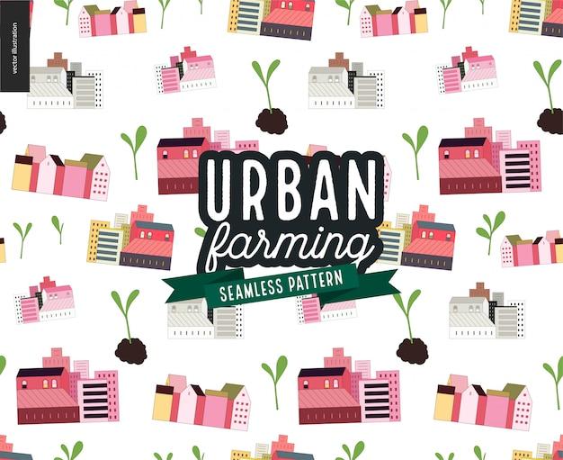 Urbane landwirtschaft und gartenbau - häuser- und sprossenmuster