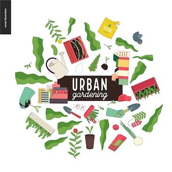 Urbane landwirtschafts- und gartencollage