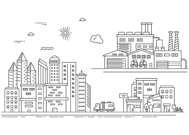 Urbanes treiben mit hohen gebäuden und industrie im linienstil