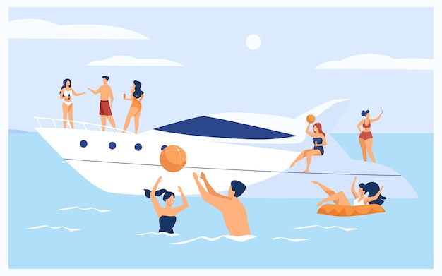 Urlaub auf yachtkonzept
