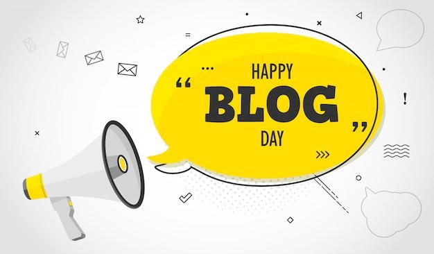 Urlaub blog tag. megaphon und bunte gelbe sprechblase mit zitat. blog-management, bloggen und schreiben für website, konzeptplakat