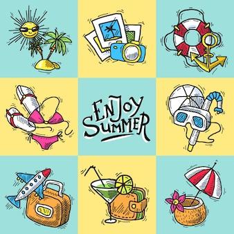 Urlaub dekorative icons