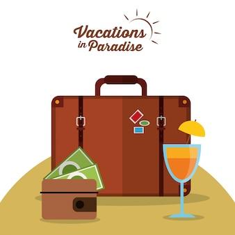 Urlaub im paradies koffer brieftasche cocktail