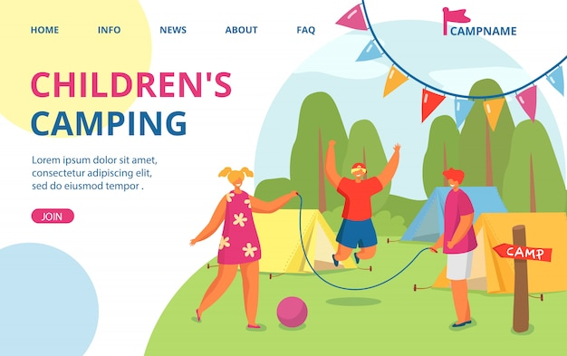 Urlaub im sommer naturcamp, outdoor-abenteuerurlaub für kinder illustration. netz mit wald, zelt, menschen charakter. glückliche kindererholung, landung.