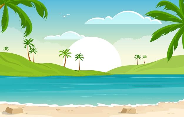 Urlaub in der tropischen strand-seepalme-sommer-landschaftsillustration