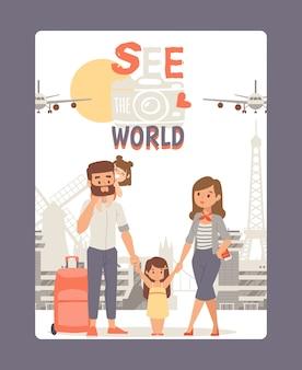 Urlaub mit der familie, siehe weltplakatillustration. reisetour in europa, wahrzeichen der stadt. junges paar mit kind