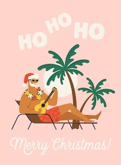 Urlaub mit weihnachtsmannillustration.