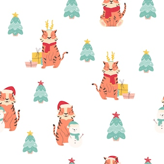 Urlaub nahtlose muster mit lustigen tigern in winterkleidung, schneemänner, tannen. weihnachten, neujahrsdruck für verschiedene zwecke.
